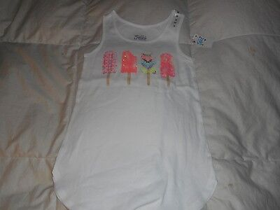 Girls Justice White Popsicle Sleeveless Top Shirt  Size 10  NWT