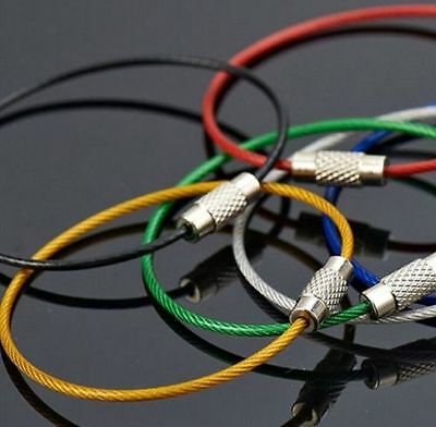 New 5 x Multi-Coloured Steel Wire Keychain Cable Key Item Holders 15cm Many Uses