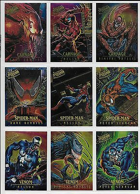 1995 Fleer Ultra Spiderman CHROME MASTERPIECES Complete INSERT CARD Set 1-9