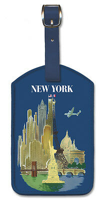Leatherette Travel Luggage Tag Baggage Label - New York by Luc-Marie Bayle