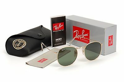 New Ray-Ban Round Metal Sunglasses Gold Frames Green Lenses RB 3447 Size 50mm