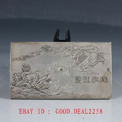 Chinese Tibet Silver Hand Carved Two Dragons Playing With a Pearl Predant YP27