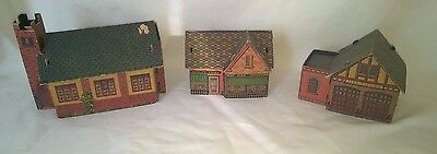Vintage Built-Rite Toys Cardboard Fire Station, Church & Drug Store $17.99