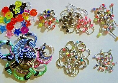 200 pc Body Jewelry Eyebrow Tongue Belly Captive Ear Stretchers Loop Labret LOT