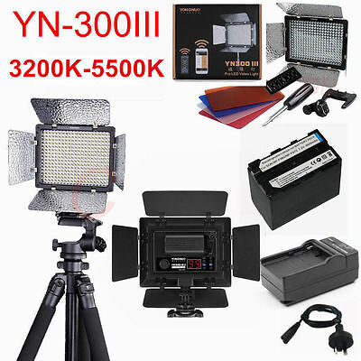 Yongnuo YN-300 III LED Video Light for Camera Camcorder +NP-F960 Battery&Charger