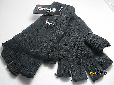 Original Knitted Thinsulate Men Ladies cut finger gloves fingerless inside lined