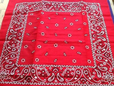 Vintage Western Made In USA Paisley Red Black White Cotton BANDANA