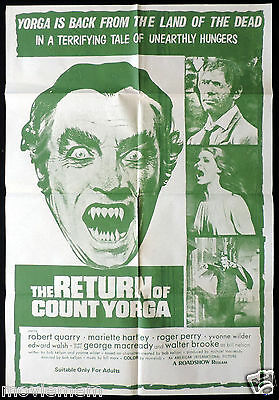 RETURN OF COUNT YORGA Vintage One Sheet Movie poster Robert Quarry Vampire