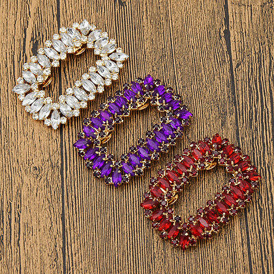 1 Pc Square Charming Shoes Clip Crystal Shoe Charms Decor Rhinestone Removable