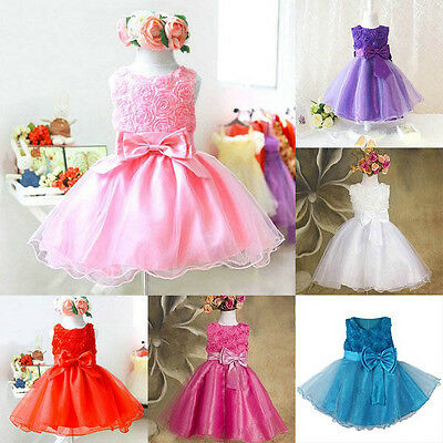 AU Flower Baby Kids Princess Dress Girl Party Pageant Wedding Tulle Tutu Dresses