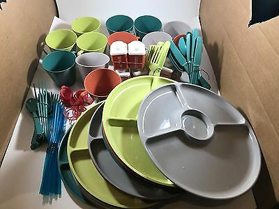 RARE - 12 Complete Sets of Mid-Century Retro Steri-Lite Picnic trays Cups LOOK
