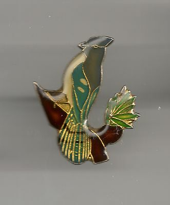 Vintage Male Blue Jay Perched on Branch old enamel pin