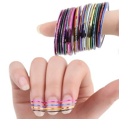 30 Pcs Mixed Colors Rolls Striping Tape Line Nail Art Tips Decoration Sticker CO