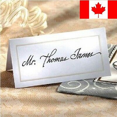 40pcs Name Place Cards Wedding Party Dinner Table White Silver Elegant Beautiful