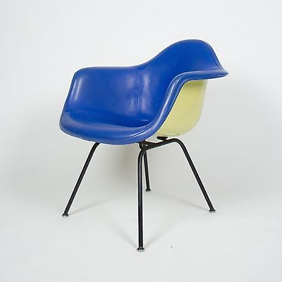 Early Eames Yellow & Blue Herman Miller Upholstered Fiberglass Shell Chair DAX-1