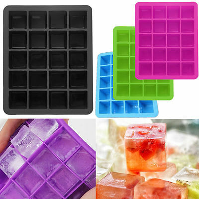20-Cavity Ice Cube Whiskey Freeze Square Silicone Tray Jelly Mold Bar DIY Tool
