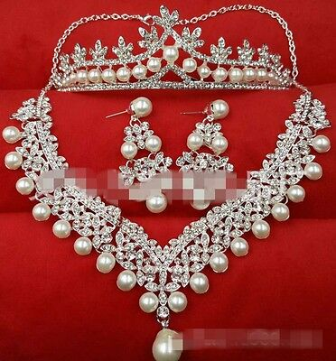 Crystal Bridal Tiara Earring Necklace Set Pearl Handmade Crown Jewelry Accessory