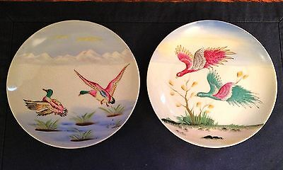 "Set Of 2 Vintage Handpainted Geese Plates 7-1/8"" Matching Pair"