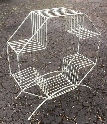 Mid Century Modern ATOMIC Shabby Wire Hexagon 4-Tier Plant Stand Ball Vintage