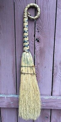 Unusual Antique Wrapped Pig Tail Handle Straw Broom PRIMITIVE Vintage Rustic