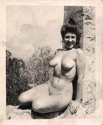 Original 1950s 4x5 Photograph Amateur Camera Club Classic Nude Beauty Outside