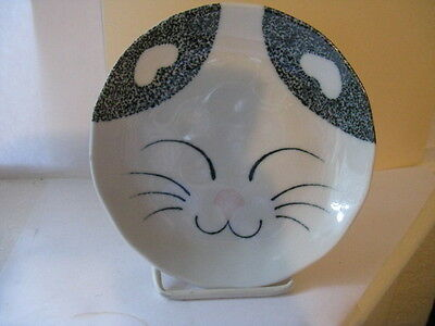 Small Decorative Kitty Cat  Dish Plate White Porcelain Kitty Face - Japan