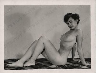 Original 1950s 4x5 Photograph Amateur Camera Club Nude Woman Posing on a Blanket