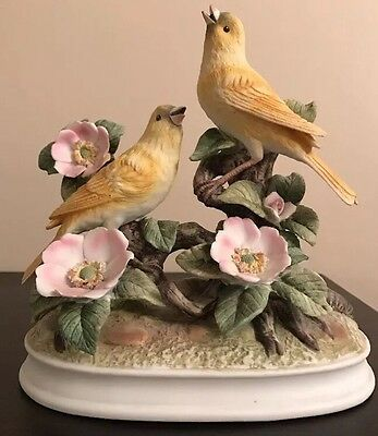 Group of Canaries by Andrea of Sadek Porcelain birds Figurine Statue 8 1/2""