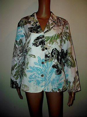 Chico's Size 2 Cotton/Silk Long Sleeve Jacket, Blazer  Top