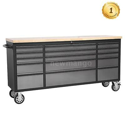 "72"" Large Stainless Steel Rolling Tool Chest Cabinet w/ Work Station Bench Y3W3"