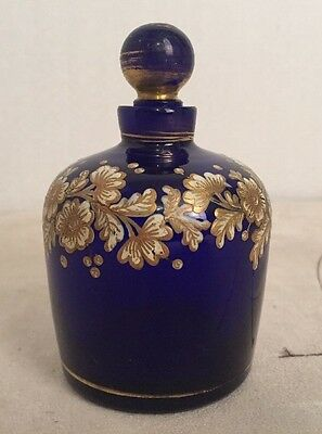 "Rare Vintage 4.25"" Cobalt Blue With Gold/White  Flowers Perfume Bottle Ca1890's"