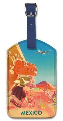 Leatherette Travel Luggage Tag Baggage Label - Mexico East by S. Prout