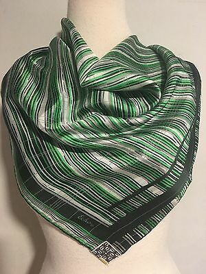 Vintage NWT Echo Green, White &Taupe Wavy Stripe Chinon Silk Scarf~Made in Japan