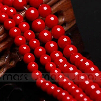 """Red Synthetic Coral Gemstone Round Loose Beads 15.5"""" Strand 4 6 8 10mm"""