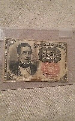 1874 10 cents fractional currency