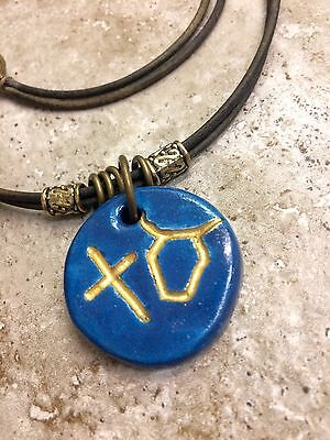 PALEO HEBREW ALEPH TAV ALPHA OMEGA Ceramic necklace Messianic Messiah Israel Blu