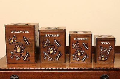 Vintage / Retro Wooden Canister Set of 4 - Stackable - Japan - GVC