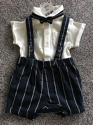 Baby boy Next romper/short dungaree/ shirt and dicky bow-tie 3-6 months BNWT