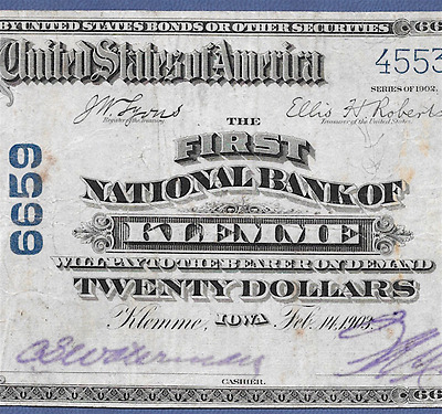 Ia 1902 $20 ♚♚ Klemme, Iowa ♚♚  Only Pb $20 Known!!!     Very Hard To Find