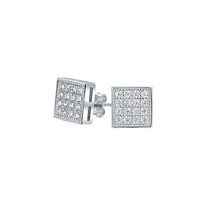 71292a142 Geometric Square Cubic Zirconia Micro Pave CZ Stud Earrings Sterling Silver  5mm