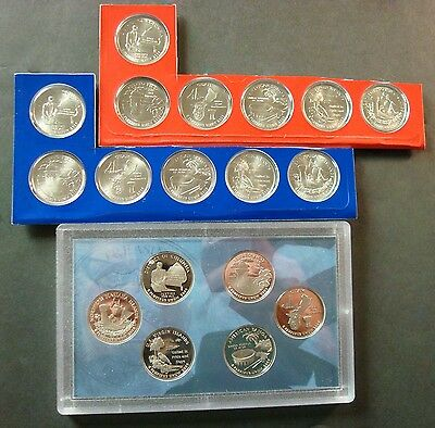 2009-P+D+S All (18) Territory Quarters, Six Proofs Plus Twelve Uncirculated