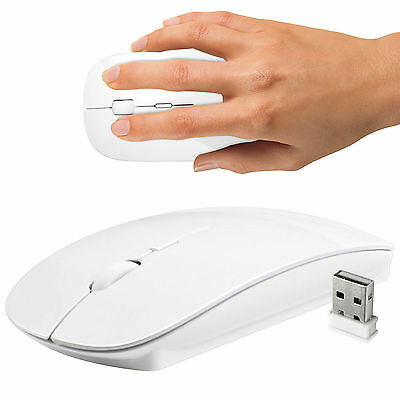 White 2.4 GHz Wireless Cordless Mouse USB Optical Scroll For PC Laptop Computer