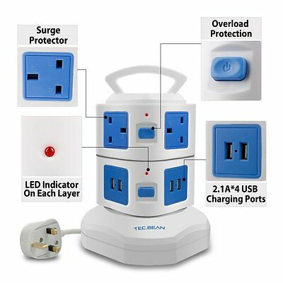 TEC.BEAN 3M Extension Lead 6 Gang Surge Protector, Vertical Power Strip with 4 U