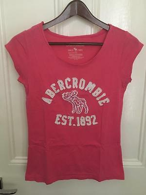 Abercrombie & Fitch New York Ladies Pink Logo T-Shirt 100% Cotton Size 10