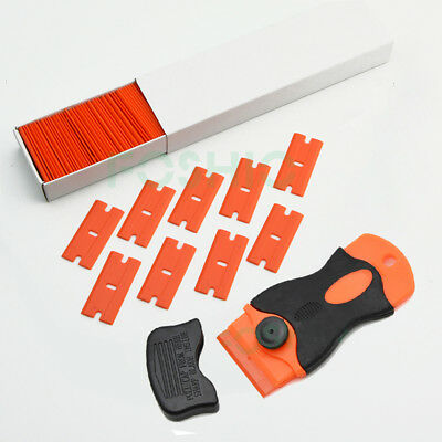 Razor Blade Scraper Removal Tool + 100 1.5'' Plastic Double Edged Blades DIY NEW