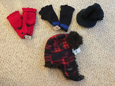 LOT Men's Abercrombie Hollister American Eagle AE Gloves, Beanie, Trapper Hat