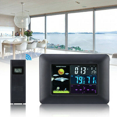 In/Outdoor Wireless Weather Station Clock Digital Temperature Humidity Meter ZY
