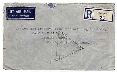 1940 Malaya via Singapore to GB Censored Registered Airmail Cover.