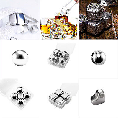 1/4 Pcs Reusable Stainless Steel Iced Cubes Drink Whiskey Wine Stones Ball Freez
