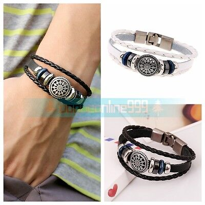 Fashion Multilayer Leather Rope Wristband Punk Men Women Anchor Bracelet Bangle
